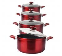 Комплект тенджери - RM - Червен металик  Elekom с Висококачествен алуминий