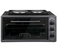 Готварска печка с два котлона ZEPHYR ZP 1441 T50HP, 3900W, 50 литра, Терморегулатор, Тава и решетка, Черен